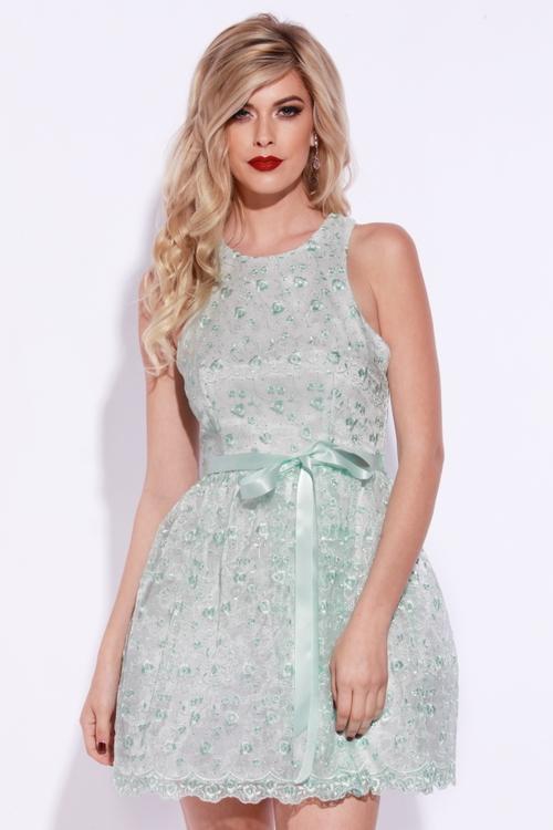 Josh and Jazz - Q2RCE093 Dress in Mint/Silver