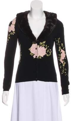 Blumarine Mink-Trimmed Beaded Cardigan