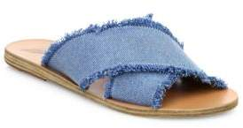 Ancient Greek Sandals Thais Frayed Denim Crossover Slides