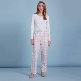 289b656cd4ae93 The White Company Cotton Flannel Check Pyjama Bottoms, White/Pink, Small