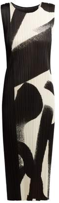 Pleats Please Issey Miyake Monochrome Pleated Dress - Womens - Black White