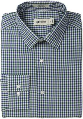 Haggar Men's Gingham Check Point Collar Regular Fit Long Sleeve Dress Shirt