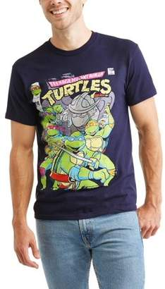 Teenage Mutant Ninja Turtles Men's Teenage Mutant Ninja Turtle Group With Shredder and Logo Graphic T-Shirt