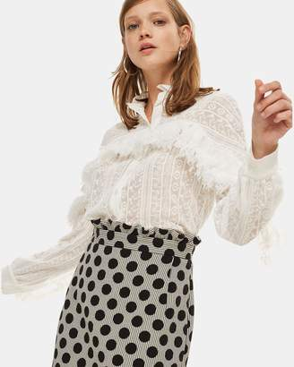 Topshop Spot Stripe Jacquard Skirt