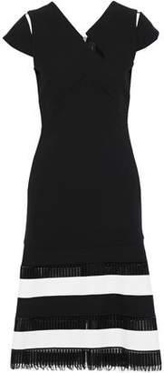 Roland Mouret Horham Striped Open Knit-Paneled Wool-Crepe Dress
