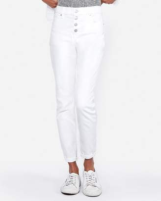 Express Mid Rise Stretch Cropped White Denim Leggings