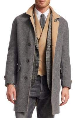 Brunello Cucinelli Wool& Cashmere Double-Faced Overcoat