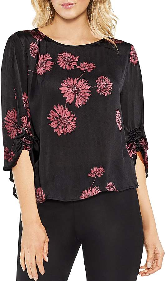 Chateau Sketch Floral Smocked Detail Top
