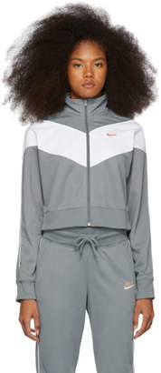 Nike Grey and White Cropped Colorblocked Track Jacket