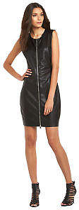 Replay Leather Look Zip Through Dress In Black Size 6