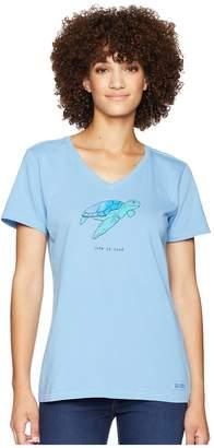 Life is Good Sea Turtle LIG Crusher Vee Women's T Shirt