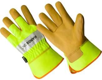 Hands On LP2400-L, Hi Viz, Grain Goatskin Leather Palm Glove