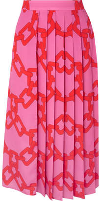 MSGM Pleated Printed Crepe Midi Skirt - Pink