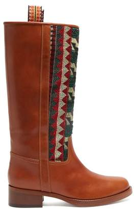 Etro Embroidered Leather Riding Boots - Womens - Tan Multi