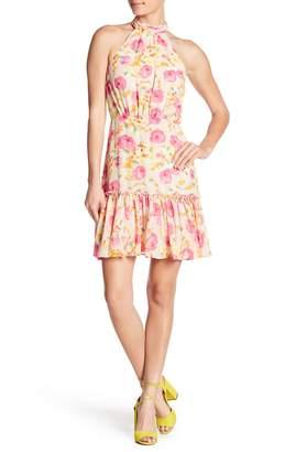 Betsey Johnson Floral Chiffon Halter Dress