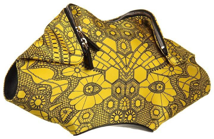 Alexander McQueen De Manta Clutch (Bright Yellow/Black) - Bags and Luggage