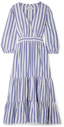 Madewell Wrap-effect Striped Cotton Dress - Blue