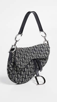 Christian Dior What Goes Around Comes Around Black Canvas Saddle Bag
