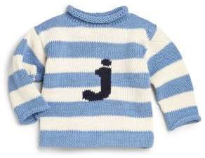 MJK Knits Personalized Baby's, Toddler's & Kid's Striped Cotton Letter Sweater