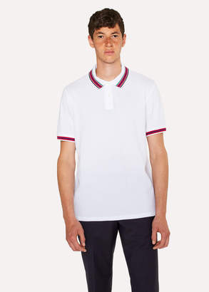 Paul Smith Men's White Polo Shirt With Multi-Coloured Tipping