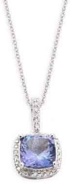 Effy 14K White Gold Tanzanite & Diamond Square Pendant Necklace