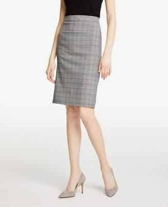 Ann Taylor Petite Glen Plaid Flounce Back Pencil Skirt