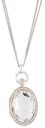 Monica Rich Kosann Quartz & White Sapphire Oval Locket Necklace