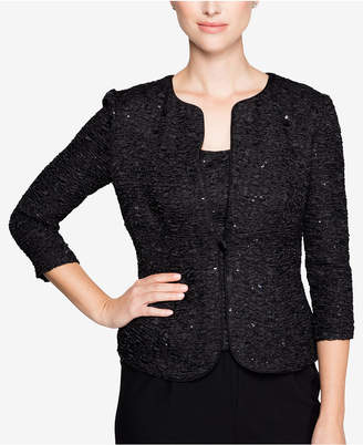Alex Evenings Sequined Textured Jacket & Shell
