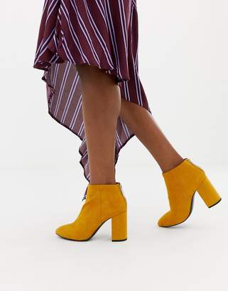 Pull&Bear zip heeled boot in mustard