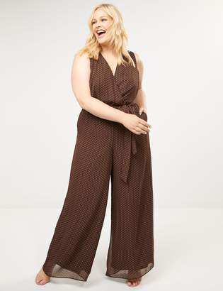 Lane Bryant Polka Dot Faux-Wrap Jumpsuit