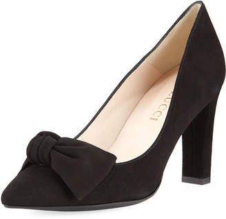Sesto Meucci Suede High-Heel Bow Pump, Black
