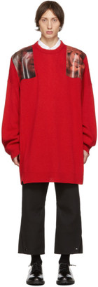 Raf Simons Red Oversized Patches Sweater