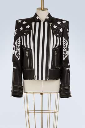 Balmain American flag leather jacket