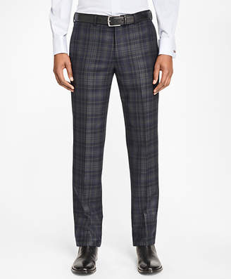 Brooks Brothers Milano Fit Navy and Green Plaid Trousers