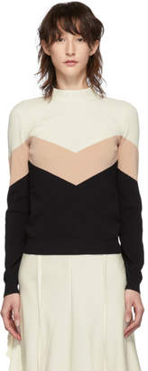 RED Valentino Black and Beige Knit Chevron Bow Sweater