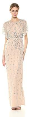 Adrianna Papell Women's Beaded Long Dress with Scalloped Edging,4