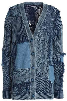 Stella McCartney Patchwork Cable-Knit Cotton And Denim Cardigan
