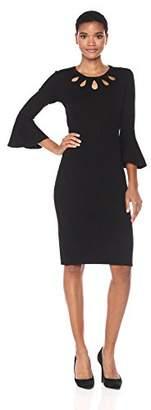 Taylor Dresses Women's Multi Teardrop Keyhole Sweater Dress