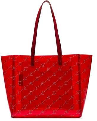 Stella McCartney red logo embellished transparent PVC tote bag