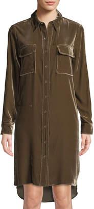 BCBGMAXAZRIA Silky Velvet Shirtdress