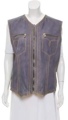 Gianni Versace Leather Zip-Up Vest