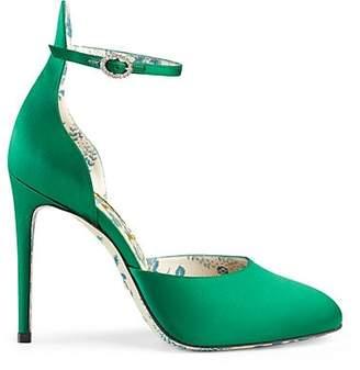 Gucci Women's Satin D'Orsay Pumps - Green