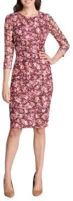 Kensie Dresses Three-Quarter Sleeve Floral Sheath Dress
