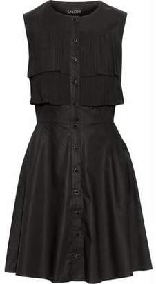 Saloni Jasmin Pleated Stretch-Cotton Poplin Mini Dress