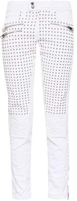 Just Cavalli Studded Quilted Mid-rise Slim-leg Jeans