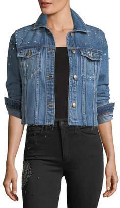Joe's Jeans The Boyfriend Embellished Cropped Denim Jacket