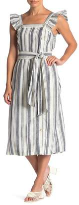 Ella Moss Stacy Striped Button Linen Blend Midi Dress