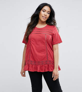 Junarose Frill Hem Top With Crochet Insert
