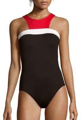 Halterneck One-Piece Colorblock Swimsuit