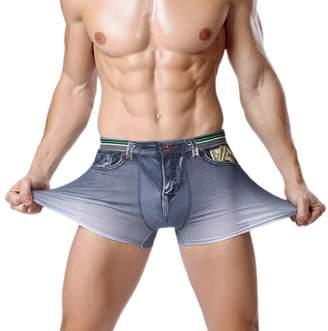 Acme CME Men Cotton Fux Denim Underwer Boxer Briefs with Flse Pocket Dollr Printed Size XL